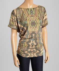 Love this Brown & Green Abstract Ruched Boatneck Top on #zulily! #zulilyfinds