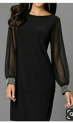 Stylish Dresses For Girls, Elegant Dresses, Beautiful Dresses, Nice Dresses, Dresses With Sleeves, Mob Dresses, Fashion Dresses, Formal Dresses, Black Dress Outfits