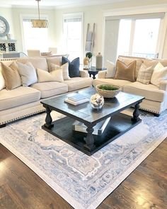 Open concept living with nailhead trim couches and large coffee style styled with neutral accents and pops of blue decor New Living Room, Home And Living, Living Room Decor, Bedroom Decor, Bath Decor, Living Area, Living Room Furniture Arrangement, Living Room Arrangements, Boho Home