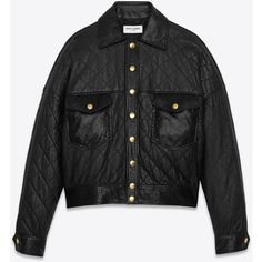 Saint Laurent Quilted Leather Jacket in Black Leather and Faux Python... (€5.415) ❤ liked on Polyvore featuring outerwear, jackets, genuine leather jackets, quilted faux leather jacket, snake print jacket, leather jackets and faux leather jacket