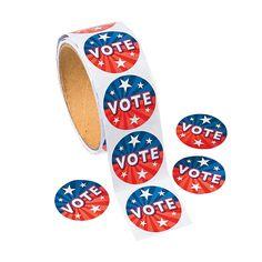 """100 """"Vote"""" Roll Stickers - OrientalTrading.com"""