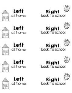 "I created this freebie with the hope that it will alleviate some of the mass chaos that goes on in my firsties' go home folders. This product gives you two different labels - ""left at home"" (to be placed on the left side of the folder) and ""right back to school"" (for the right side!)These print perfectly onto Avery's 2x4 inch labels."