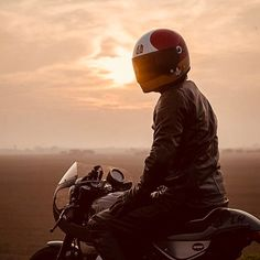 Motorcycle Rider in front of Sunset | Leather Jacket
