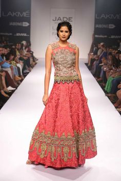Pink and gold Indian wedding lehnga with long blouse by Jade and Monica Karishma at Lakme Fashion Week Winter 2014