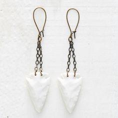 Porcelain Arrowhead Earrings on Etsy, $46.00