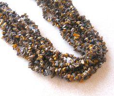 Tiger Eye Chip Beads Endless Loop Gemstone by CatsBeadKitsandMore