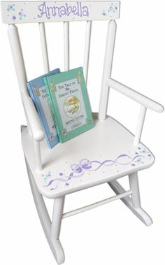 Adorable personalized baby rocker with design you choose and name hand painted.