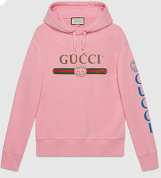 26f4b63b8 Gucci logo sweatshirt with dragon in Pink washed felted cotton jersey