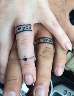 Wedding Ring Tattoos Star Wars wedding band tattoos I love you I know Finger Tattoo Designs, Band Tattoo Designs, Ring Finger Tattoos, Wedding Band Tattoo, Tattoo Band, Wedding Bands, Wedding Venues, Wedding Flowers, Wedding Ideas