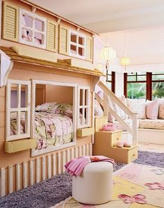 Wilson and his partner, Joe Guidera, created an airy hideaway anchored by a painted wood house that holds two beds, one for the girl and another, on top, for a visiting friend. It does double duty, since the stairs provide storage. (More storage is found beneath the banquette and in a small armoire.)