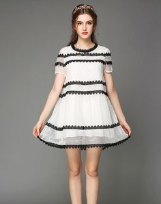 Check the details and price of this Contrast Color Short Sleeve Mini Dress (White, OUYALIN) and buy it online. VIPme.com offers high-quality Day Dresses at affordable price.