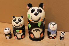 Nesting Dolls Panda family matryoshka babushka animal by sersonart