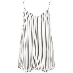 Bold Stripe Frill Hem Playsuit by Nobody's Child ($32) ❤ liked on Polyvore featuring cream