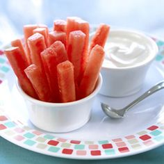 Perfect size for kids! Watermelon dip sticks Try with marshmallow fluff or your kids favorite dip!