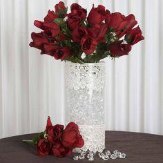 84 Wholesale Artificial Velvet Rose Buds Wedding Vase Centerpiece Decor - Black/Red