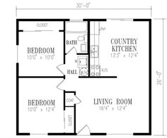 Traditional Style House Plan - 2 Beds 1 Baths 780 Sq/Ft Plan #1-114 Floor Plan - Main Floor Plan - Houseplans.com