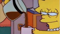 Lisa Simpson's Coffee refers to a still image from The Simpsons showing Lisa Simpson being poured coffee with a mischievous expression on her face. The image started becoming an object labeling meme in the spring of Memes Simpsons, Lisa Simpsons, The Simpsons Show, Cartoon Memes, Cartoon Pics, Funny Memes, Funny Gifs, Coffee Meme, Hilarious Memes