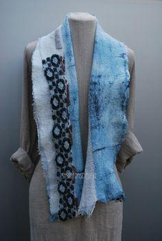 Extravagant hand felted scarf with stunning by sassafrasdesignl