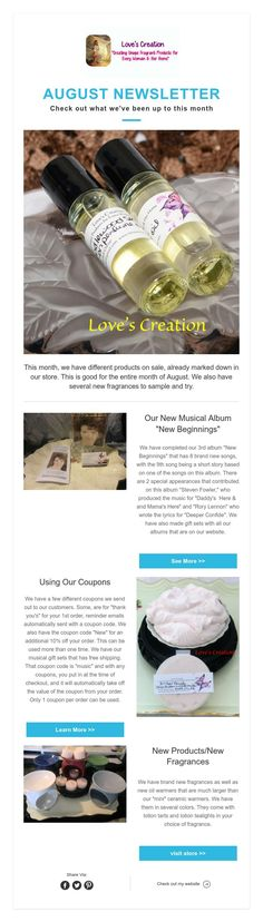 This month, we have different products on sale, already marked down in our store. We also have several new fragrances to sample and try. August Month, New Fragrances, New Beginnings, Album, Products, Month Of August, Gadget