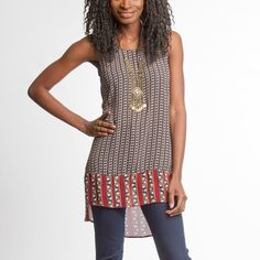 """NOW IN STOCK!!! ✅ Tribal Print Tunic Tribal print sleeveless high-low tunic. Beautiful lightweight fabric gives this unique patterned boho top a flowing and classy look. Material: cotton, polyester. Available sizes: S,M,L. Measurement details below. OFFERS WELCOME!!! ✌️.                                                       S:  30""""L front, 34""""L back / 17""""W laying flat.             M: 30""""L front, 35""""L back / 18""""W.                               L: 31""""L front, 35""""L back / 19""""W Tops Tunics"""