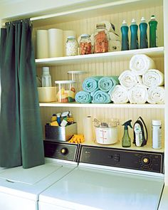 Keep laundry supplies tidy and out of sight with built-in shelves and a curtain that can be pulled across them when the laundry is done. I was actually planning on doing this in my laundry room before I saw this since I already have built in shelves. Laundry Room Shelves, Laundry Closet, Laundry Room Organization, Storage Shelves, Storage Ideas, Laundry Rooms, Laundry Area, Laundry Storage, Shelf