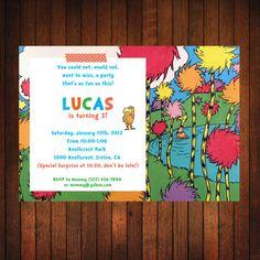 Lorax Birthday Invitation: Original Lorax on Etsy, $12.00