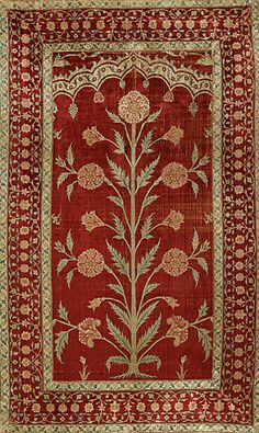 Mughal silk, Architectural Panel, Mughal dynasty, late 17th century, India. This panel either hung in the doorway of a palace or lined a nobleman's tent.