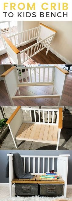 Funiture Makeovers: Repurposed Crib Turned Kids Bench.