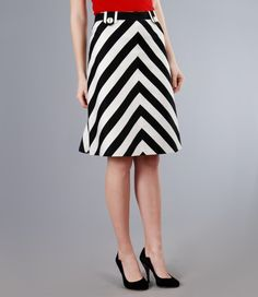 Elastic cotton skirt with stripes