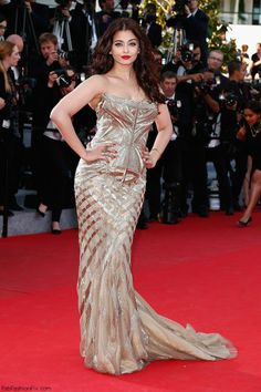 "Aishwarya Rai in Roberto Cavalli gown at the ""Deux Jours, Une Nuit"" Premiere during the 67th Annual Cannes Film Festival."