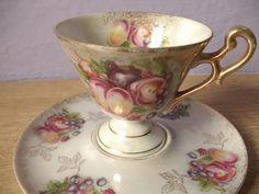 vintage lustreware tea cup and saucer 1950's by ShoponSherman, $25.00