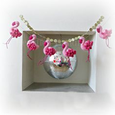 Flamingos......pink and pom pom like with a touch of gold. MADE TO ORDER This garland is handmade and made to order, please allow approximately 3-4 weeks for making and dispatch. Each Flamingo is handmade from felt, with cord legs and pom pom wings. (Pom poms and cord may vary -