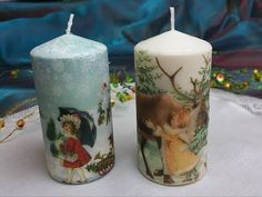 Decoupage tutorial - decorating candles with napkins Diy Christmas Napkins, Christmas Decoupage, Christmas Candles, Christmas Crafts, Christmas Ornaments, Napkin Decoupage, Decoupage Tutorial, Candle Art, Candle Molds