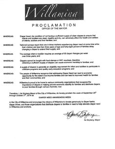 Willamina, OR - Mayoral proclamation recognizing Diaper Need Awareness Week (Sep. 26-Oct. 2, 2016) #Diaperneed diaperneed.org