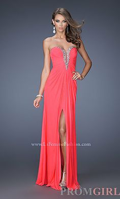 Long Strapless Sweetheart Dress at PromGirl.com flamingo pink