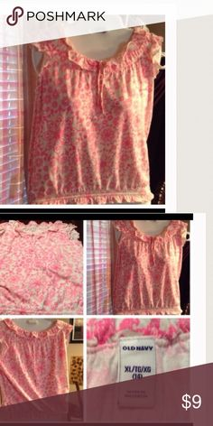 Old Navy KIDS Top Kids top is size 14, XL. Good condition. Colors white/pinkish Old Navy Shirts & Tops