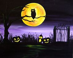 It's Halloween in the pumpkin patch! The big yellow moon shines bright on the old gate and blades of grass. The Jack-O-Lanterns' happy faces are all aglow as the owl watches from a gnarled tree branch. Join us to paint your own spooky scene today! Halloween Canvas Paintings, Halloween Painting, Halloween Drawings, Halloween Pictures, Halloween Scene, Halloween Art, Vintage Halloween, Halloween Witches, Autumn Painting