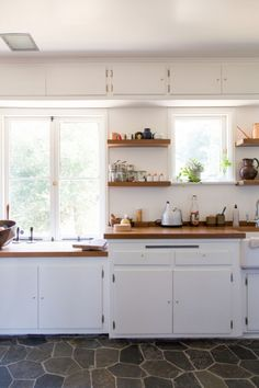 matching walnut counters and shelves