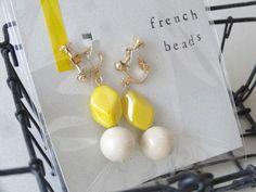french beads earrings 「【限定1】エクリュとイエローのイヤリング」 - ハンドメイドアクセサリー「rue」のアイテムと、アクセサリーのラッピング、発送、梱包、おしゃれな食品パッケージについてのブログ