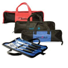 Custom Branded Non-Woven BBQ Set has a Non-woven fabric case that holds stainless steel tongs, spatula and fork. It has a zippered closure, and the tools feature heat-resistant grips