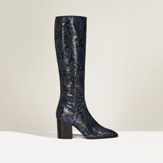 PATTERN HIGH HEEL LEATHER BOOTS