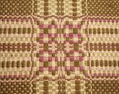 Rare 19th Century Lavender and Moss Linsey Woolsey Jacquard Overshot Coverlet Piece - 34 Inches by 21 Inches