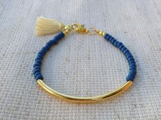Gold tube bracelet, Bangle bracelet, Bead Bracelet, beaded bracelet, tassel bracelet, Friendship bracelet, blue beads, seed beads bracelet