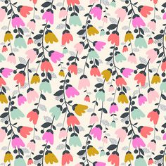 Cotton Candy is a bright collection of fun geometric and floral prints by surface pattern designer, Susan Driscoll. Mint greens, pinks and gold feature heavily