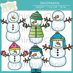 The snowman clip art set contains 12 image files, which includes 6 color images and 6 black and white images in png and jpg. All images are 300dpi for better scaling and printing. $