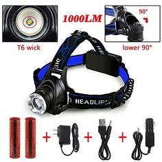 UltraBright Headlamp with Rechargeable Batteries DLAND LED Light Waterproof Zoomable 3 Modes 1000 Lumens handsfree Headlight Torch flashlight *** You can get additional details at the image link.
