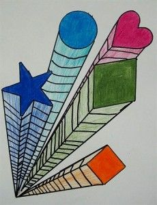 one point perspective using shapes and colored pencils.