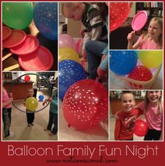 Balloon Family Fun Night: 10 fun and easy games Family Fun Games, Family Fun Night, Family Activities, Toddler Activities, Family Home Evening, Frugal Family, Business For Kids, Summer Fun, Balloons