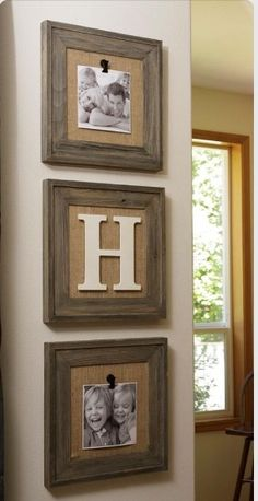 I like this shabby chic look of photos and initial. -t