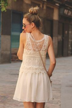 Off-white Floral Crochet Chiffon Dress // Everyday Ethereal